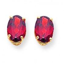 Oval Garnet Earrings in 14k Yellow Gold
