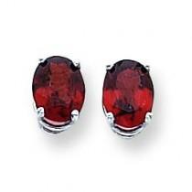 Oval Garnet Earrings in 14k White Gold