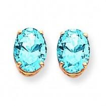 9 Oval Blue Topaz Earrings in 14k Yellow Gold