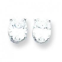 Cubic Zirconia Diamond Oval Stud Earring in 14k White Gold
