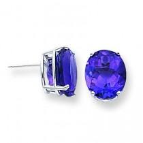 Amethyst Diamond Oval Stud Earring in 14k White Gold