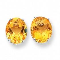 Oval Citrine Earring in 14k White Gold