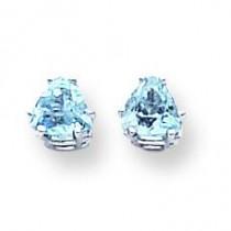 Trillion Blue Topaz Earrings in 14k White Gold