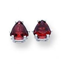 Garnet Diamond Trillion Stud Earring in 14k White Gold