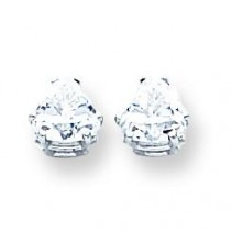Trillion Cubic Zirconia Earring in 14k White Gold