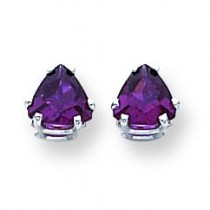 Rhodalite Garnet Diamond Trillion Stud Earring in 14k White Gold