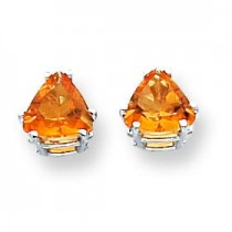 Citrine Diamond Trillion Stud Earring in 14k White Gold
