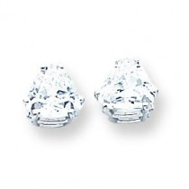 Cubic Zirconia Diamond Trillion Stud Earring in 14k White Gold