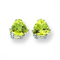 Peridot Diamond Trillion Stud Earring in 14k White Gold
