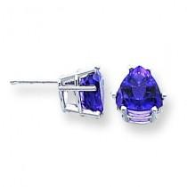Amethyst Diamond Trillion Stud Earring in 14k White Gold