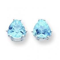 Trillion Blue Topaz Earring in 14k White Gold