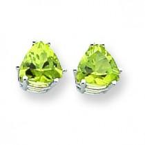 Peridot Diamond Trillion Stud Earring in 14k White Gold