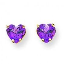 Heart Amethyst Earrings in 14k Yellow Gold