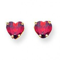 Heart Garnet Earrings in 14k Yellow Gold