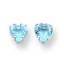 Heart Blue Topaz Earrings in 14k White Gold