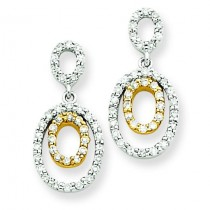 Diamond Oval Earrings in 14k Two-tone Gold