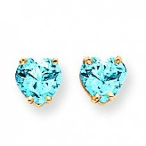 Heart Blue Topaz Earrings in 14k Yellow Gold