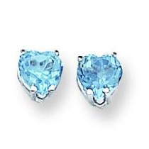 Heart Blue Topaz Earring in 14k White Gold
