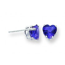 Heart Amethyst Earring in 14k White Gold