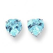 Heart Blue Topaz Earring in 14k White Gold