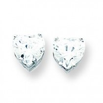 Cubic Zirconia Diamond Heart Stud Earring in 14k White Gold