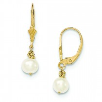 White Cultured Pearl Leverback Earrings in 14k Yellow Gold