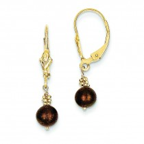 Chocolate Cultured Pearl Leverback Earrings in 14k Yellow Gold