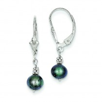 Grey Cultured Pearl Leverback Earrings in 14k White Gold