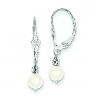 Cultured Pearl Leverback Earrings in 14k White Gold