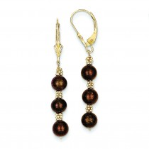 Chocolate Cultured Pearl Bead Earrings in 14k Yellow Gold