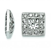 Diamond Square Jacket Earrings in 14k White Gold