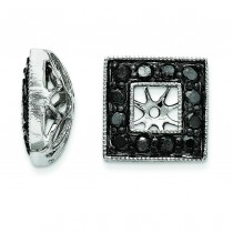 Black Diamond Square Jacket Earrings in 14k White Gold