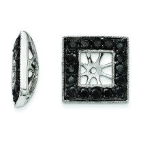 Black Diamond Square Jacket Earrings in 14k White Gold