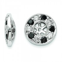 Black And White Diamond Earring Jackets in 14k White Gold