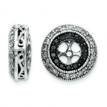 Black White Diamond Earring Jackets in 14k White Gold