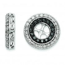 Black White Diamond Earring Jackets in 14k White Gold