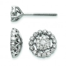 Small Flower Jacket Diamond Post Earrings in 14k White Gold