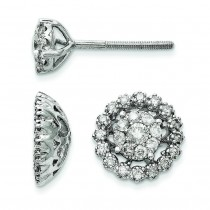 Medium Flower Jacket Diamond Post Earrings in 14k White Gold