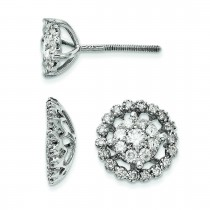 Large Flower Jacket Diamond Post Earrings in 14k White Gold