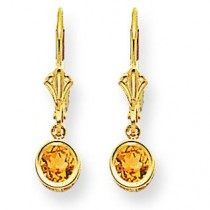 Citrine Diamond Round Leverback Earring in 14k Yellow Gold