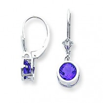 Amethyst Leverback Earring in 14k White Gold