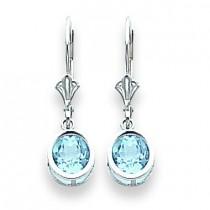 Blue Topaz Leverback Earrings in 14k White Gold