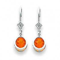 Citrine Leverback Earring in 14k White Gold