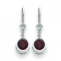 Garnet Leverback Earring in 14k White Gold