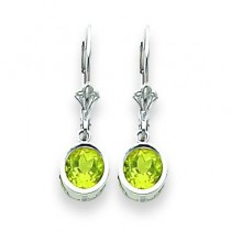 Peridot Leverback Earring in 14k White Gold