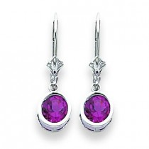 Rhodalite Garnet Leverback Earring in 14k White Gold