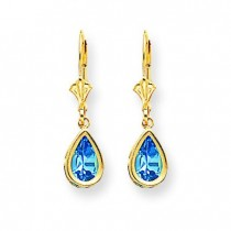 Pear Blue Topaz Leverback Earrings in 14k Yellow Gold