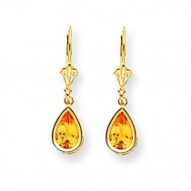 Pear Citrine Leverback Earrings in 14k Yellow Gold