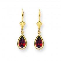 Pear Garnet Leverback Earrings in 14k Yellow Gold