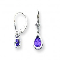 Pear Amethyst Leverback Earrings in 14k White Gold